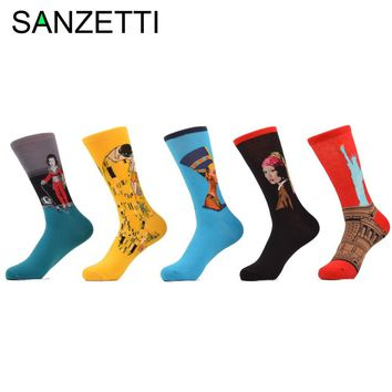 SANZETTI 5 pair/lot Men's Funny Socks Painting Red Statue of Liberty Yellow Kiss Klimt Combed Cotton Socks size 7.5-10