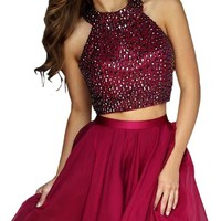 Audrey Bride Short Beaded Homecoming Dress Prom Dress For Girls-10-Dark Red