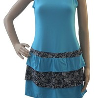 Tunic Top for Juniors Teal Blue & Paisley Dress/Tunic/Swimsuit Cover, Small