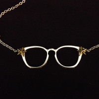 Silver spectacle eye glasses with bronze stars pendant necklace
