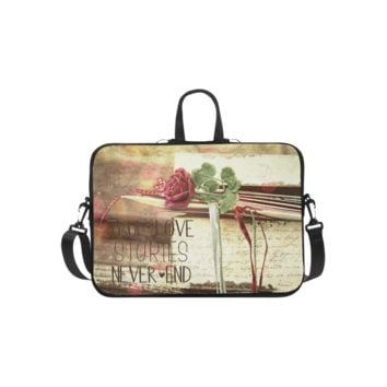 Personalized Laptop Shoulder Bag True Love Stories Never End With Vintage Red Rose Microsoft Surface Pro 3/4 Inch
