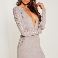 Missguided - Faux Suede Long Sleeve Bodycon Dress Grey