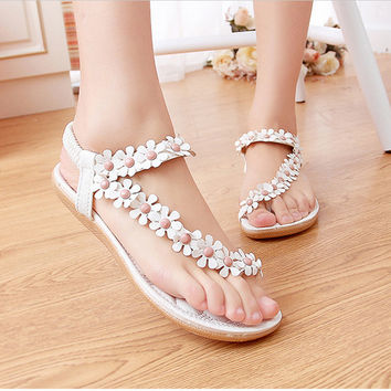 Boho Chic Flower Strap Sandals - 50% Off
