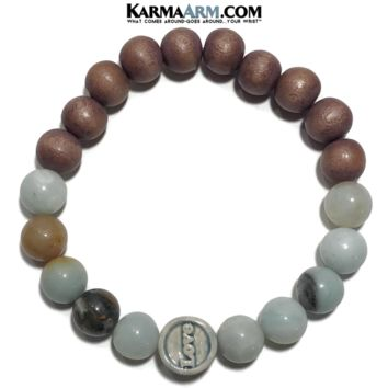 ABUNDANT LOVE | Amazonite | Sandalwood | Raku Ceramic LOVE Bracelet