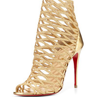 Christian Louboutin Mille Cinque Metallic Lattice Red Sole Bootie, Gold