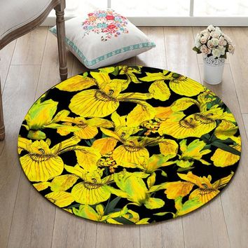 Autumn Fall welcome door mat doormat Round Home Living Room Carpet Bedroom Floor Area Rugs Bathroom Non-Slip Cushion Kitchen  Yellow Flower On Black Back AT_76_7
