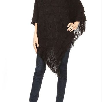 Women's Black Sweater Pullover Fringed Poncho Cape: OS