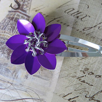 Violet Scale Chainmaille Flower Barrette - Purple Flower Clip