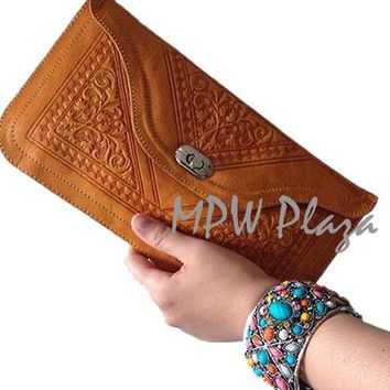Moroccan Leather clutch bag - Orange