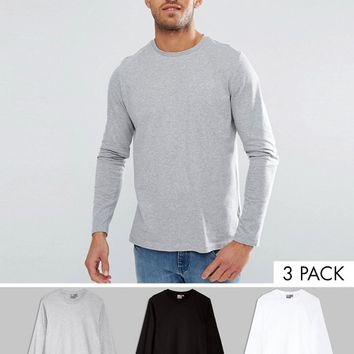 ASOS Long Sleeve T-Shirt With Crew Neck 3 Pack SAVE at asos.com