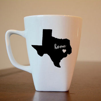 Texas Coffee Mug, Texas Coffee Cup, State Coffee Mug, Texas is Home, Texas with Heart Coffee Mug, I Miss Texas Coffee Mug