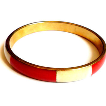 Red White Bone Panel Bangle Vintage Brass Bracelet Plastic Boho India
