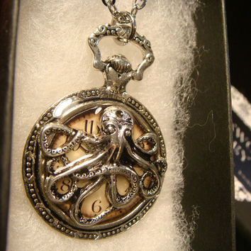 Octopus Clock Pocket Watch Style Pendant Necklace (2211)