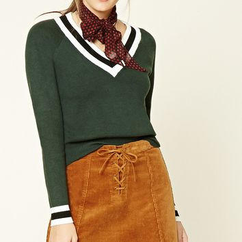 V-Neck Varsity Sweater Top