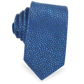 Lanvin Designer Ties Blue Pebble Print Pure Silk Narrow Tie