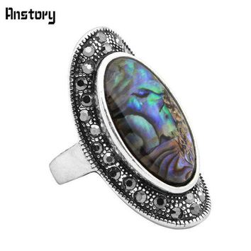 CREYCI7 Rhinestone Oval Shell Rings For Women Vintage Antique Silver Plated Big Size Fashion Jewelry TR432