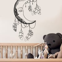 Vinyl Wall Decal Moon Feathers Bedroom Decor Dream Nursery Stickers (ig3602)
