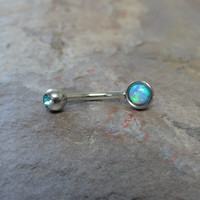 Turquoise Blue Fire Opal Eyebrow Ring Rook Ear Piercing