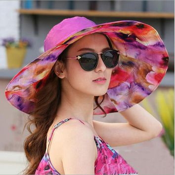 2017 Summer Women Sun Hat Ladies Wide Brim Hats Outdoor Foldable Beach Panama Hats Church Hat Bone Chapeu Feminino HT51187