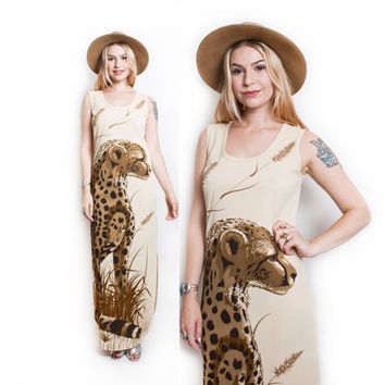 Vintage 70s Dress - ALFRED SHAHEEN Cougar Printed Beige Knit Maxi  Sheath Dress - Small