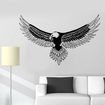 Vinyl Wall Decal American Bald Eagle Bird Feathers Patriot Symbol Stickers Unique Gift (1883ig)