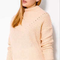 Pink Cutout Turtle-Neck Knitted Sweater
