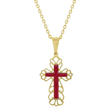 18k Gold Plated Red Filigree Stylish Cross Pendant Necklace Religious 19""