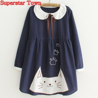Women Lolita Dresses Kawaii Cat Peter Pan Collar Party Dress Harajuku Mori Girl Sweet Embroidery Long Sleeve Vestidos