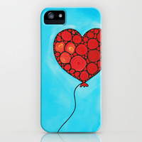 I Love You - Floating heart painting by Labor of Love artist Sharon Cummings. iPhone & iPod Case by Sharon Cummings