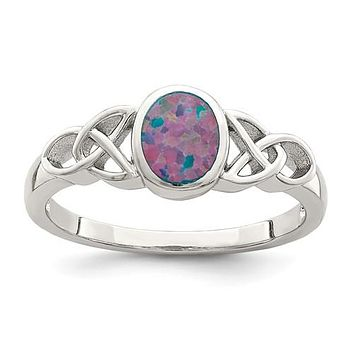 Sterling Silver Created Opal Celtic Knot Ring