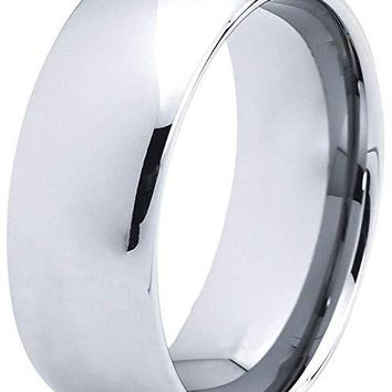 Men's Grey Tungsten Wedding Ring Dome Polished Comfort Fit - 8mm