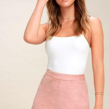 Annette Blush Pink Suede Mini Skirt