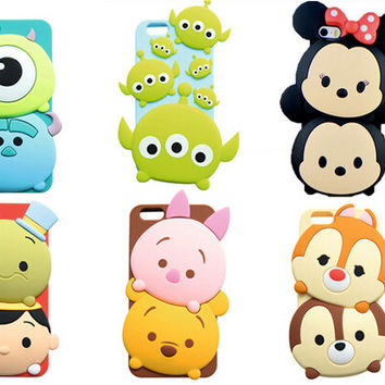 2016 Hot! TSUM Case for Apple iPhone 6  6Plus Sully Alice Silicone Gel Case Tsum for iPhone 6s 6s Plus Minnie Back Cover