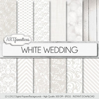 "White wedding digital paper ""WHITE WEDDING"" white wedding patterns with floral designs, bokeh, scrolls, chevron, white wood, fishnet, linen"