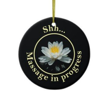 Shh... Massage in progress Door Sign Christmas Tree Ornaments from Zazzle.com