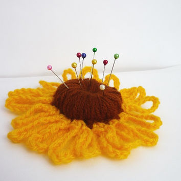 Crochet Flower Pincushion, Crochet Pincushion, Needle Pillow, Pin Cushion, Mothers day gift, yellow  and brown  color