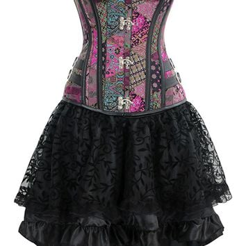 Atomic Steampunk Gothic Vintage Jacquard Overbust Corset And Skirt Set