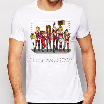 Newest suicide squad character printing T shirt Funny Sexy harley quinn/joker and harley tee shirt Men's Cool Tee Tops Clothes