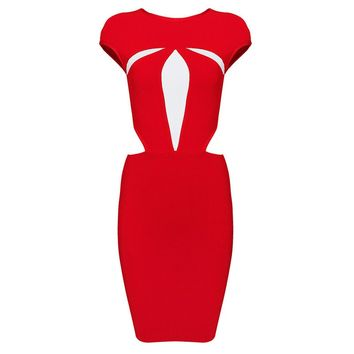 Red Cutout Bandage Dress