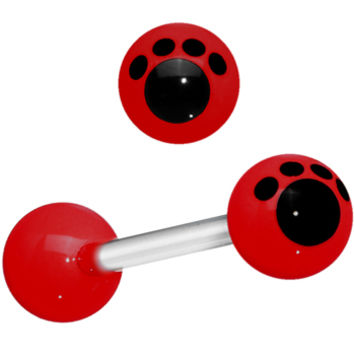 Red Black Animal Paw Print Barbell Tongue Ring | Body Candy Body Jewelry