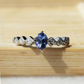 100% natural tanzanite wedding for woman 0.5ct 4mm*5mm tanzanite gemstone silver ring solid sterling silver tanzanite ring