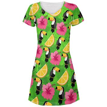 Tropical Vacation Tucan Pattern All Over Juniors Beach Cover-Up Dress