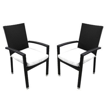 Set of 2 Black Resin Wicker Outdoor Patio Furniture Dining Chairs - White Cushions