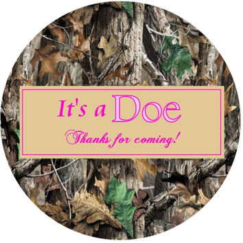 Its a Doe Camouflage Baby Shower Stickers