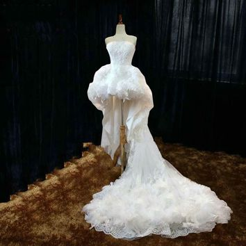 High Low Wedding Dress Sexy Strapless With Appliques Wedding Dresses  Beach Wedding Dress