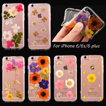 Unique Handmade Real Flowers Pressed Soft Case for Apple iPhone 6 6s plus Skin Coque Gel Shell Cover cases Floral daisy