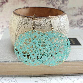 Aqua Filigree Earrings Light Turquoise Patina Earrings Seafoam Dangle Earrings Metal Lace Earrings Patina Jewelry Boho Chic Big Earrings