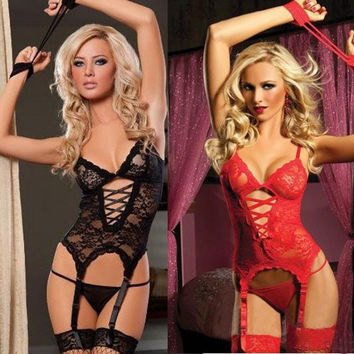 Women Sexy Lingerie Lace Corset Dress + Thongs Bears Lady Sleepwear Lingerie Handcuffs