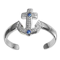 Sterling Silver Anchor Blue Topaz CZ Mid Finger / Knuckle Ring