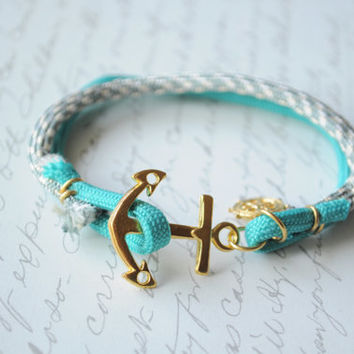 Anchor Bracelet No. 60- Anchor clasp, double strand, nautical bracelet